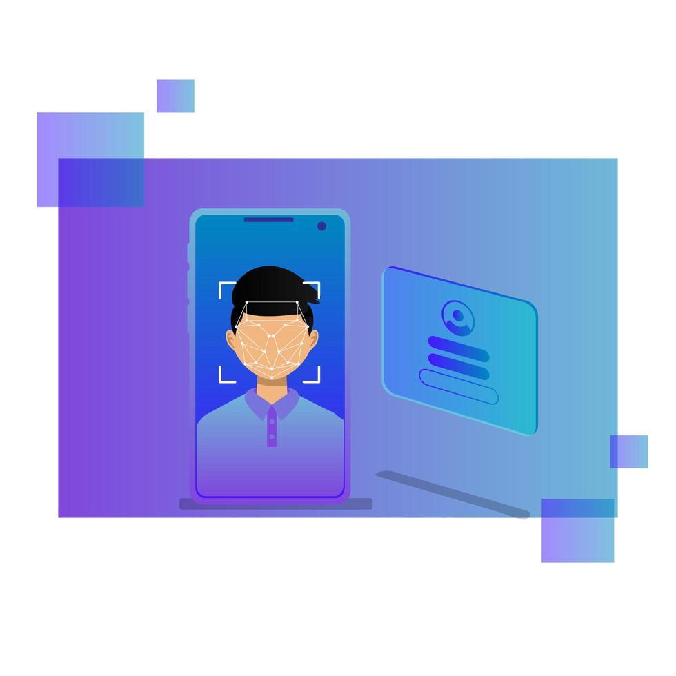 concepto de sistema de reconocimiento o identificación facial vector