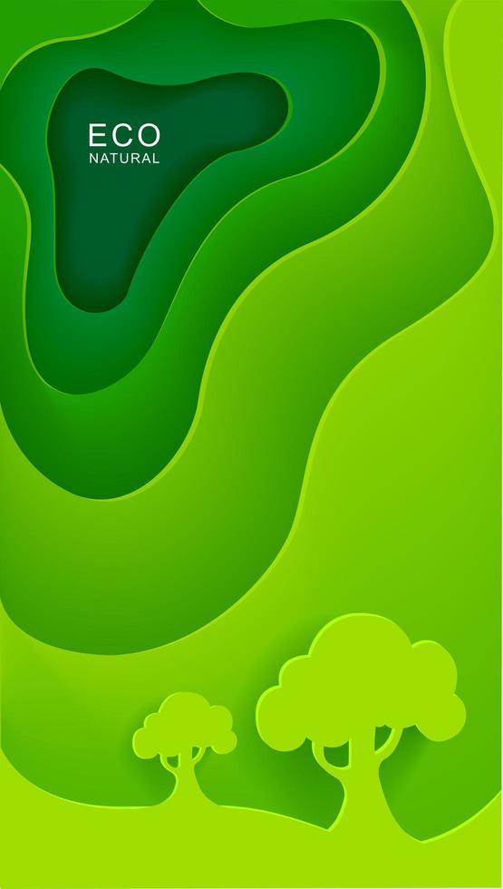 pôster vertical verde com árvores em estilo de jornal vetor