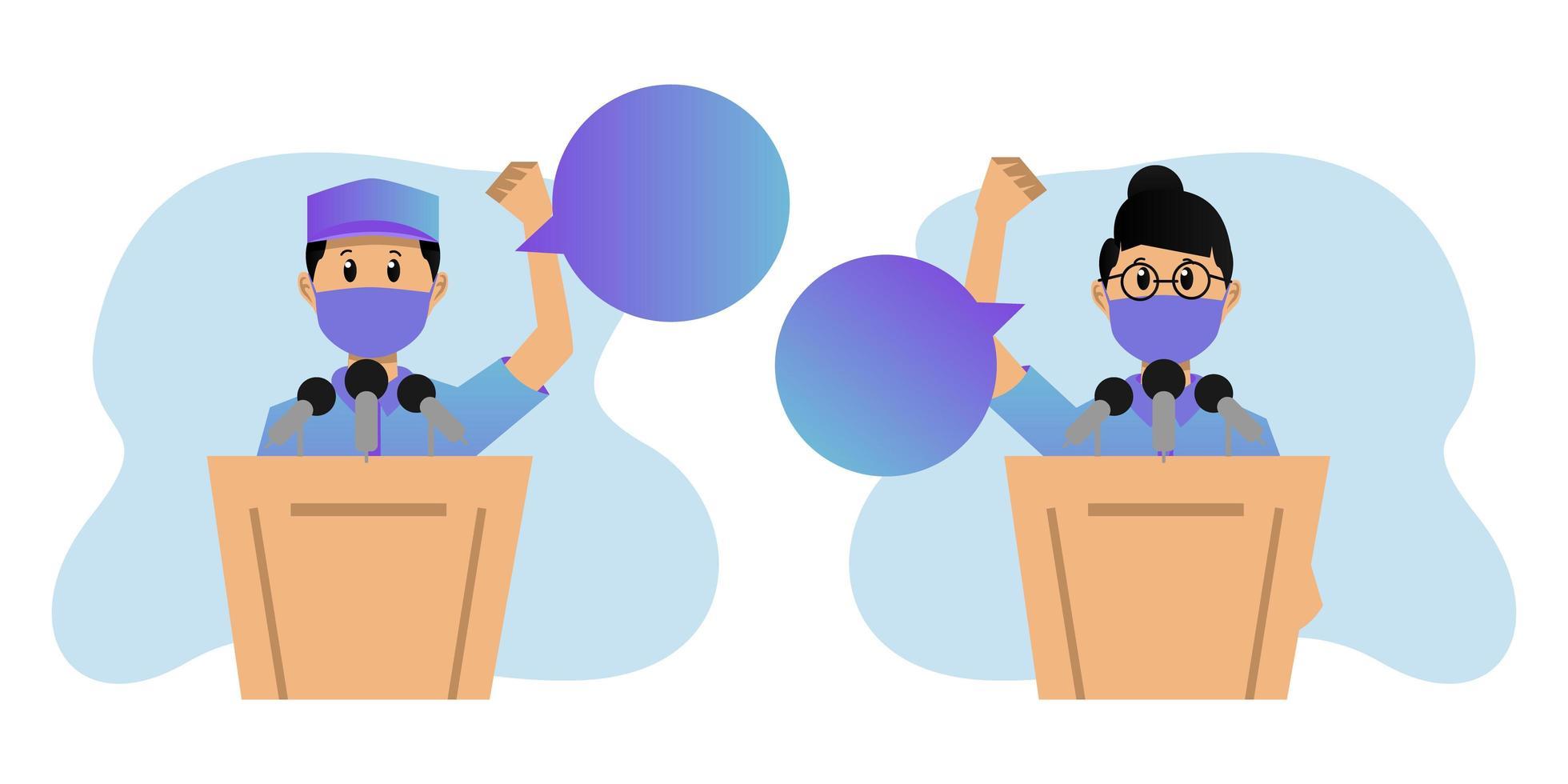 debates políticos enmascarados sobre el diseño del podio vector
