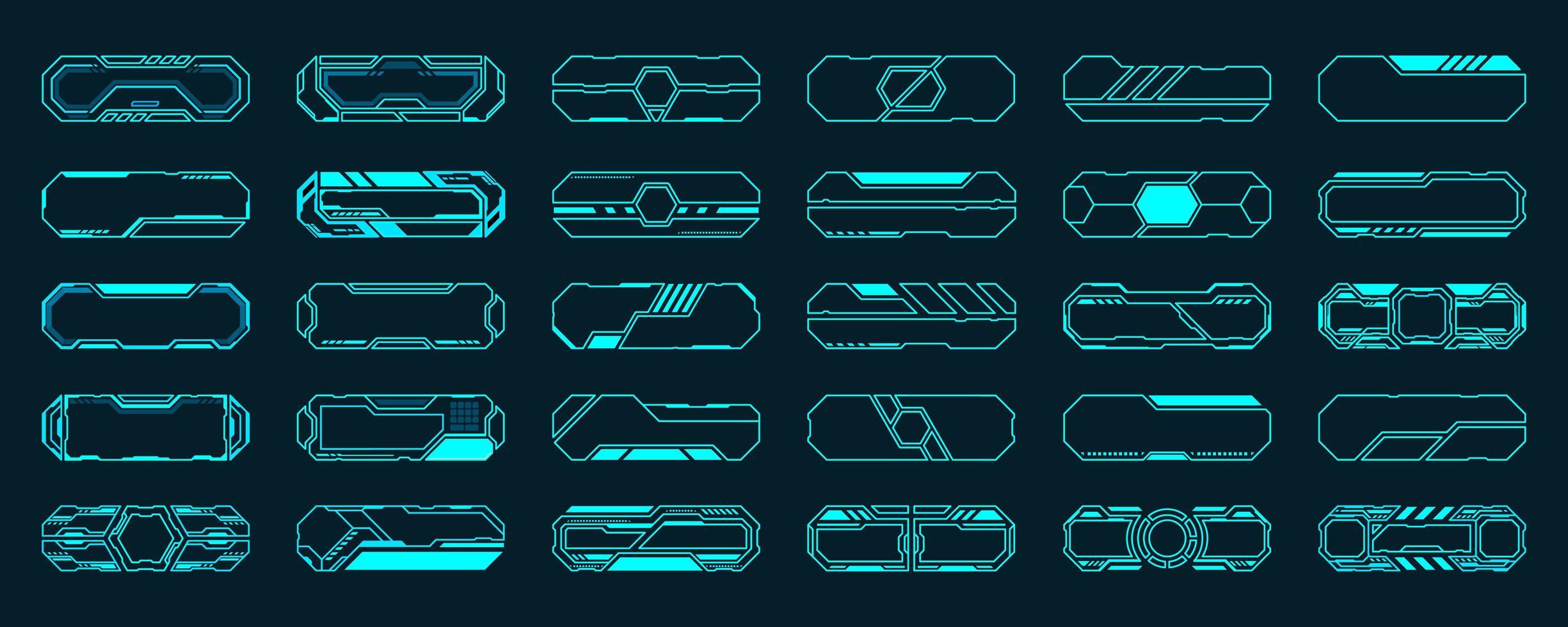 Conjunto de 30 quadros hud de interface futurista vetor