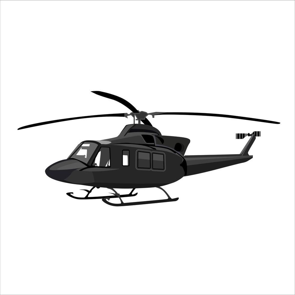 helicóptero negro volando vector