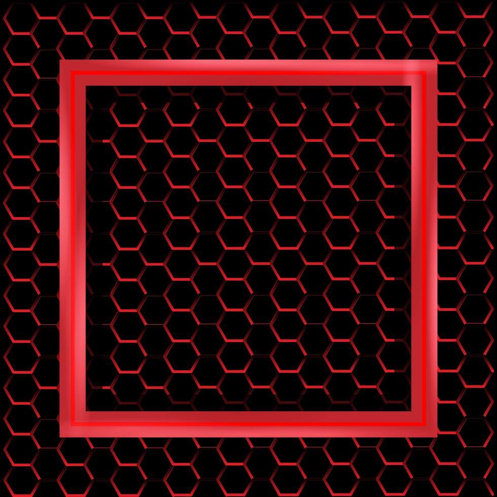 marco cuadrado rojo con patrón hexagonal de metal vector
