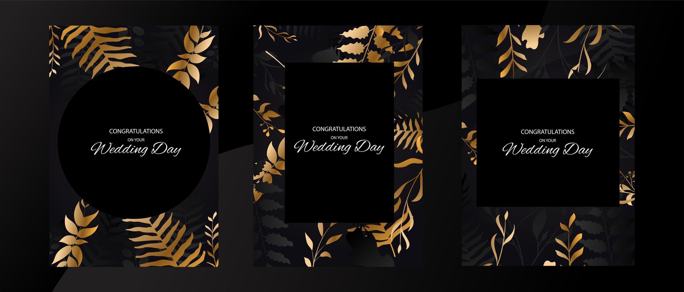 conjunto de tarjeta de marco de hoja de oro y negro de boda vector