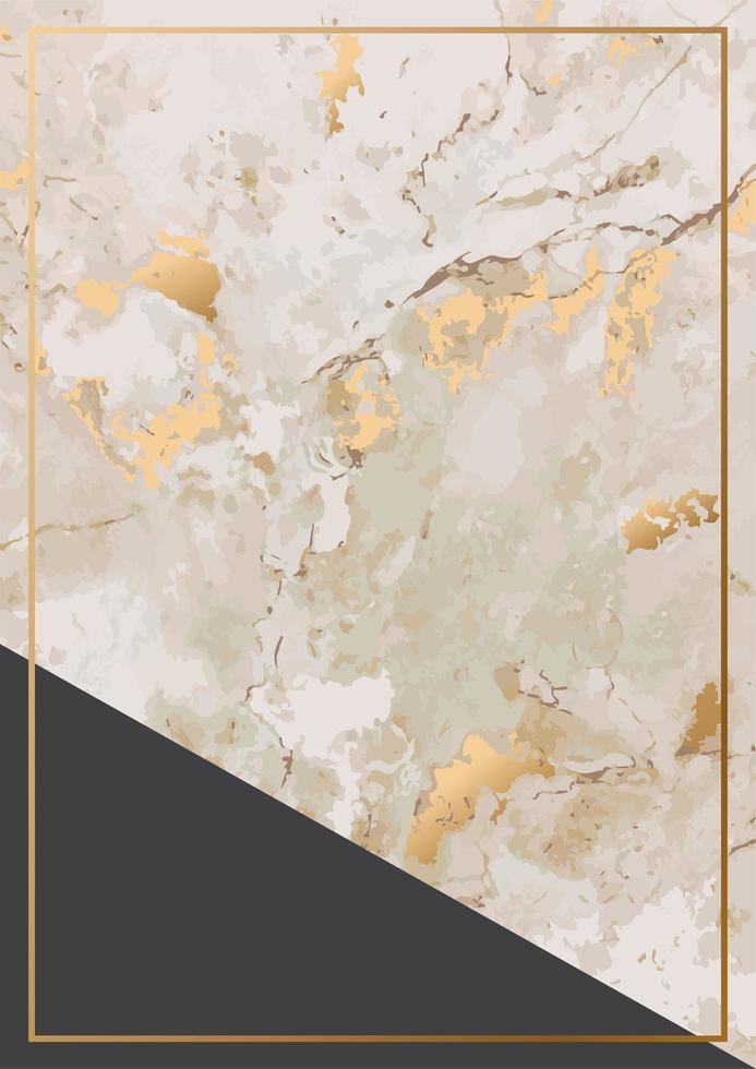 textura de piedra de mármol dorado y tarjeta de marco dorado vector
