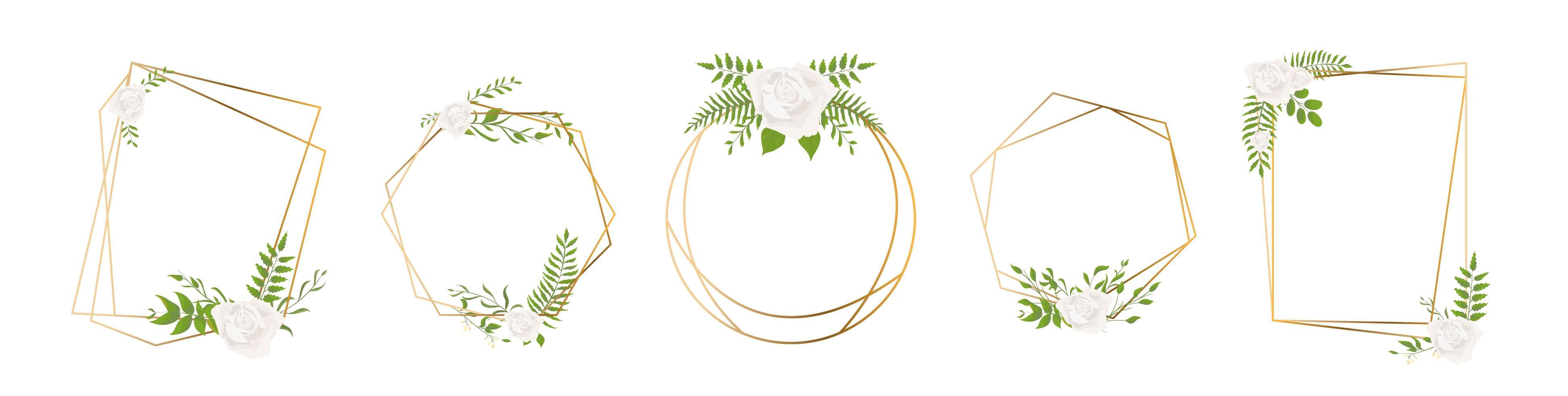 Gold geometrical polyhedron leaf and rose frames vector