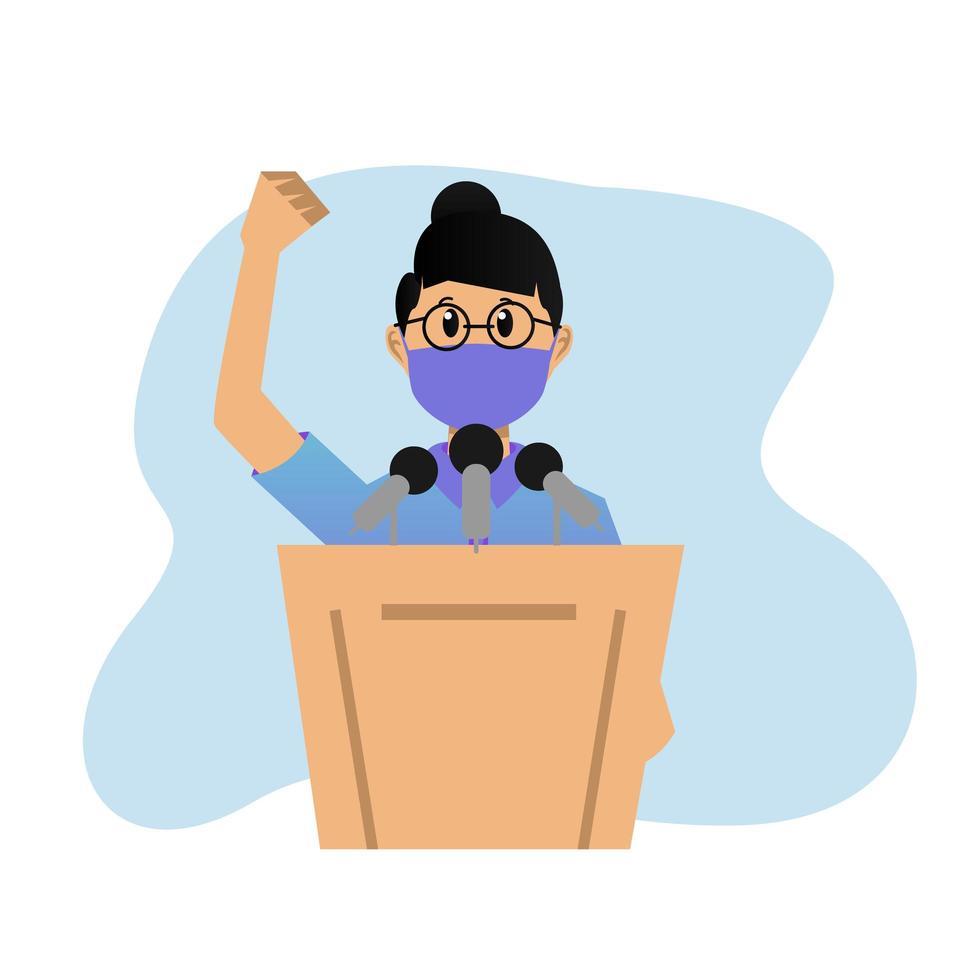 joven enmascarada dando un discurso en el podio de dibujos animados vector