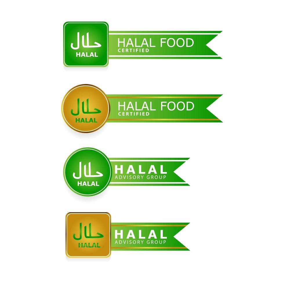 conjunto de rótulos de tag halal em branco vetor