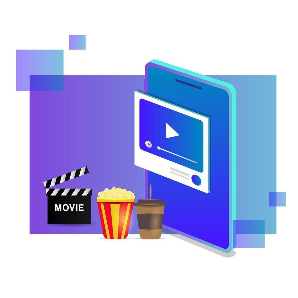 design de filmes online de streaming isométrico vetor