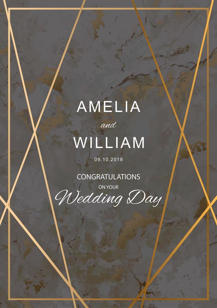 tarjeta de boda con textura de mármol con líneas geométricas doradas vector