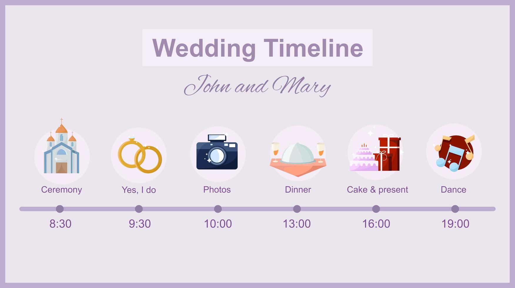 linha do tempo do casamento com ícones vetor