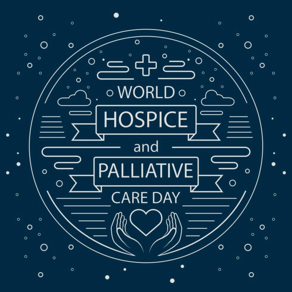 póster del día mundial de cuidados paliativos y hospicio vector