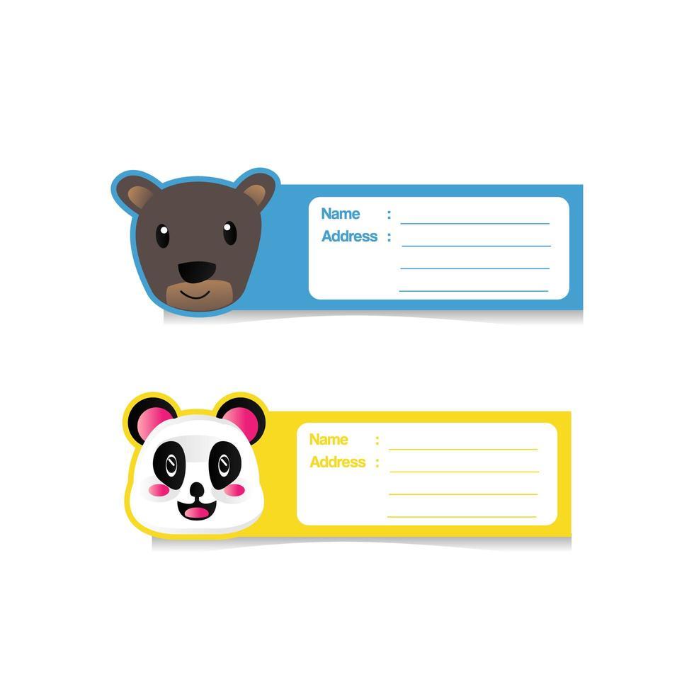 desenho de etiqueta de endereço de desenho animado de animal fofo safari vetor