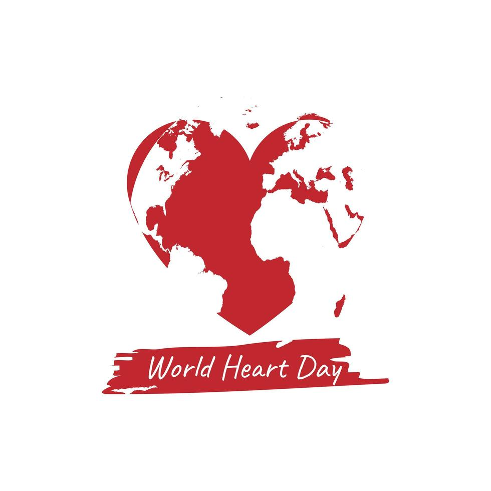 design de camisa ou pôster do dia mundial do coração vetor