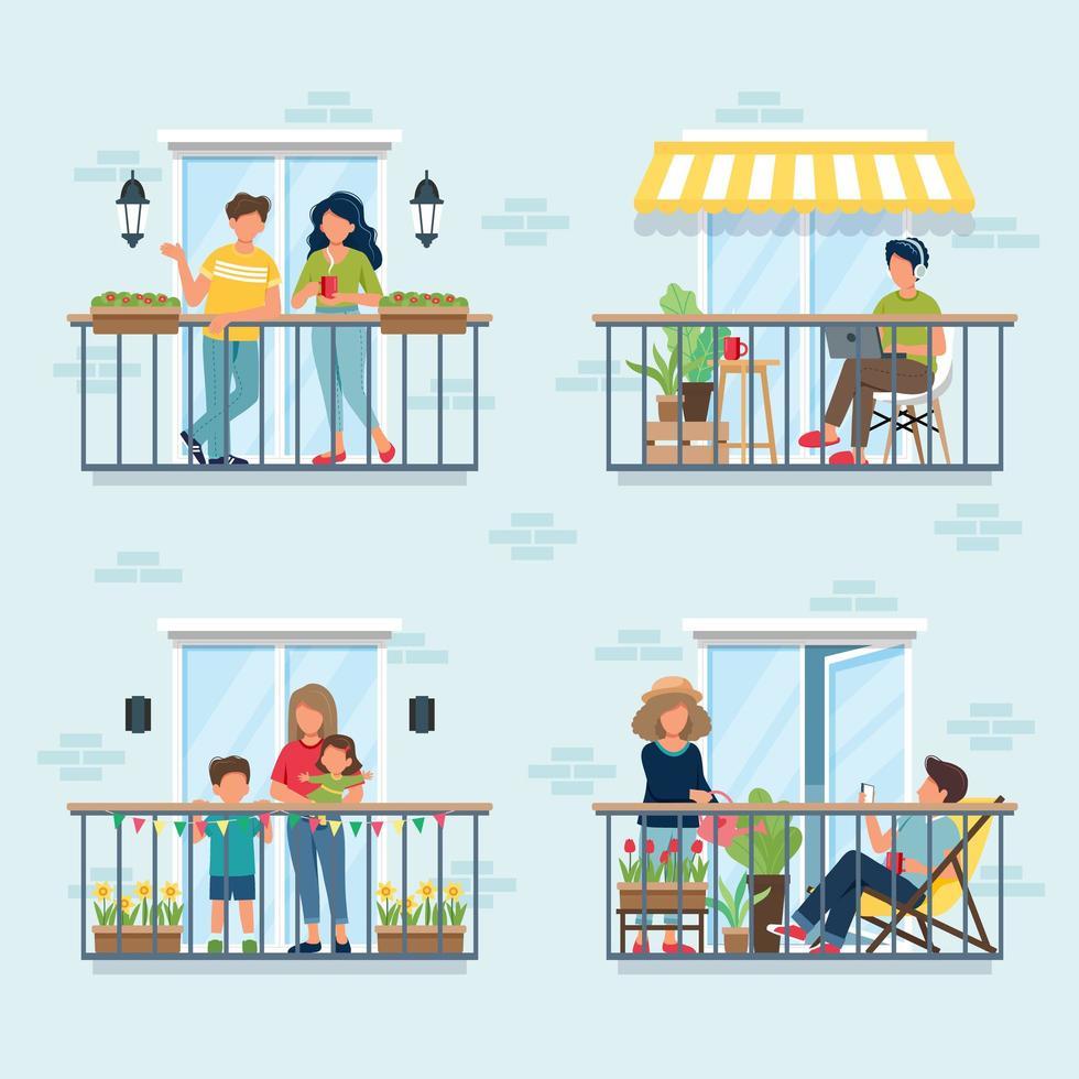 gente en el balcón, concepto de aislamiento social vector