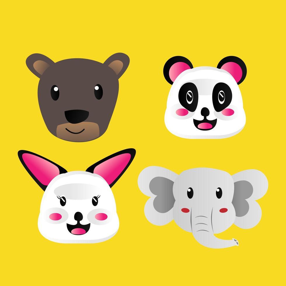 colección de animales de cara de dibujos animados dibujados a mano vector