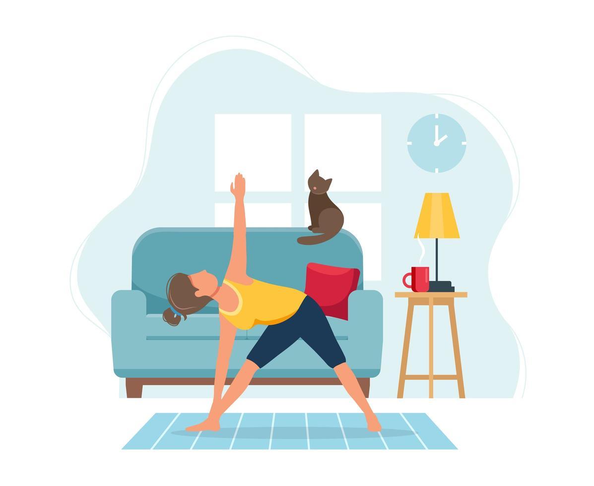 Mujer haciendo yoga en un acogedor interior moderno vector