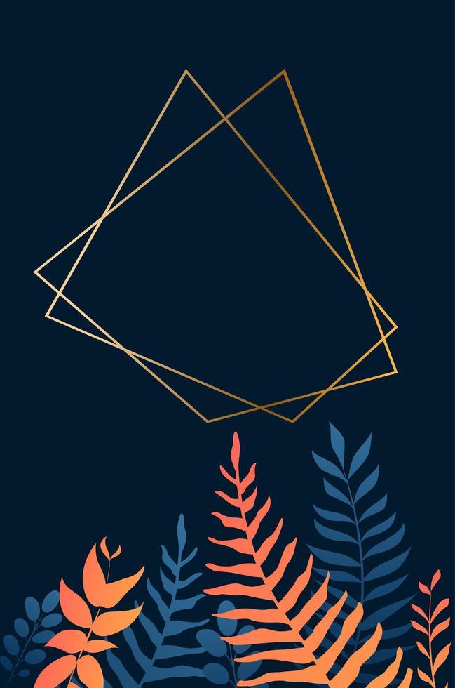 moldura dourada geométrica sobre folhas azuis e laranja vetor