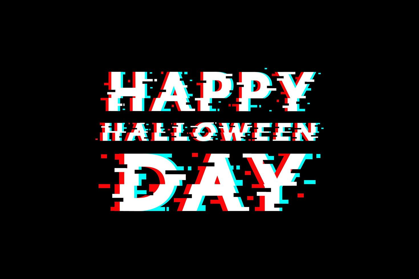 feliz día de halloween diseño de tipografía glitch vector