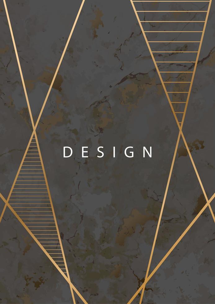 textura de pedra de mármore escurecimento com linhas geométricas douradas vetor