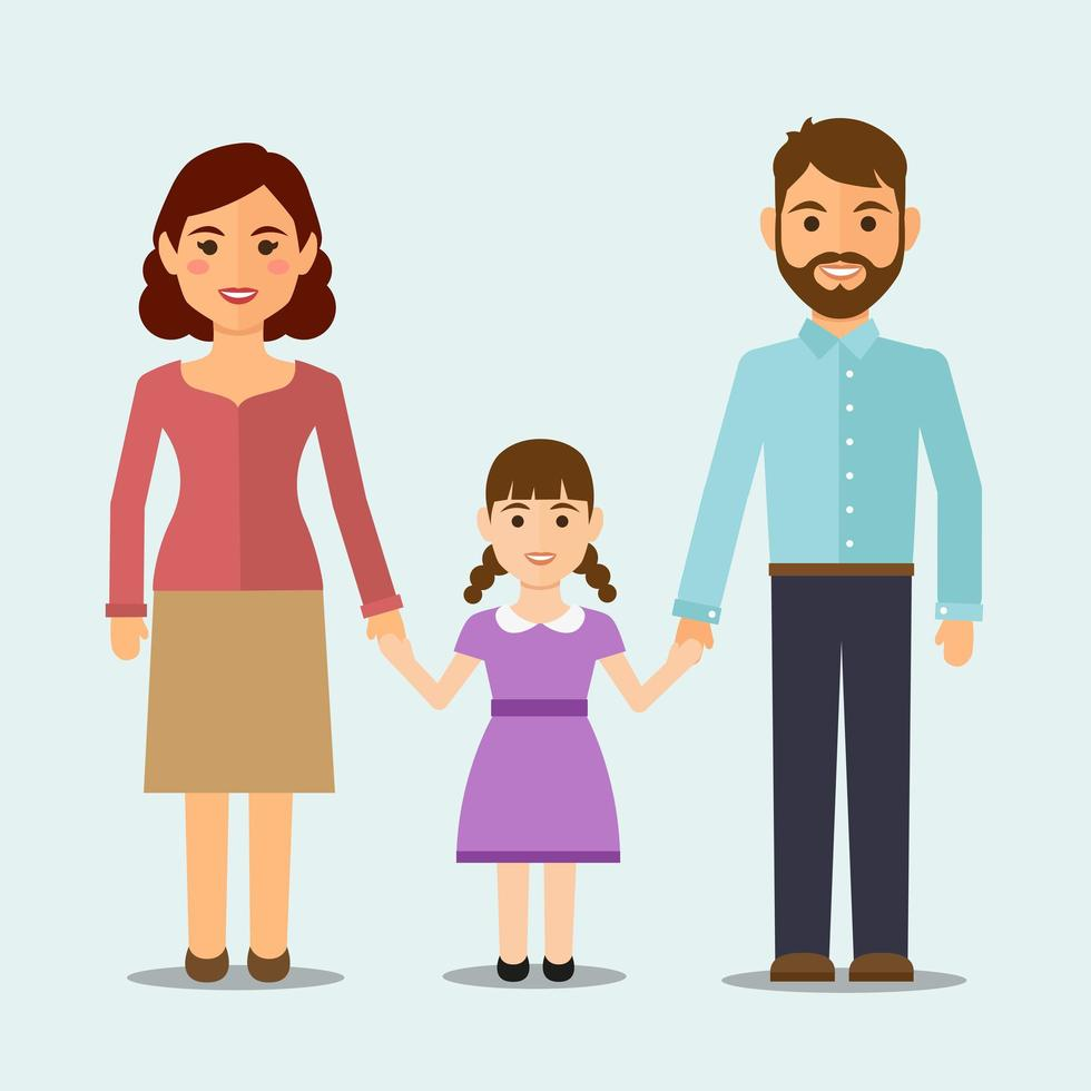familia feliz con hija vector