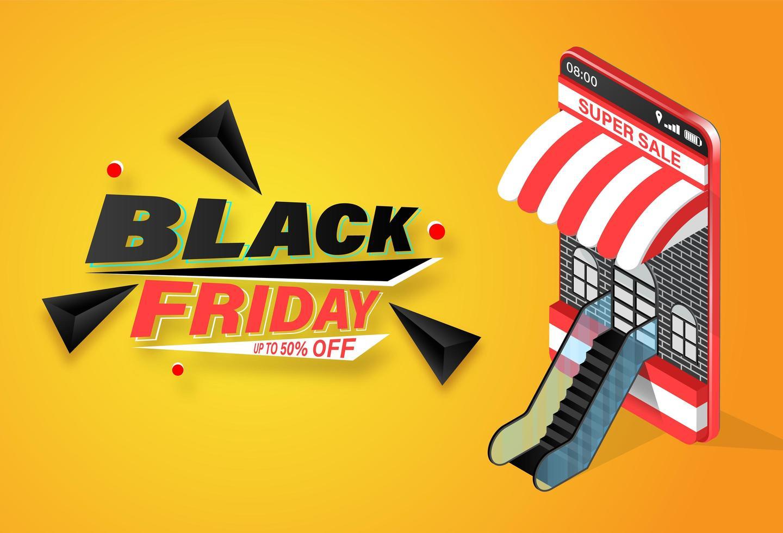 Black friday compras online em banner para celular vetor