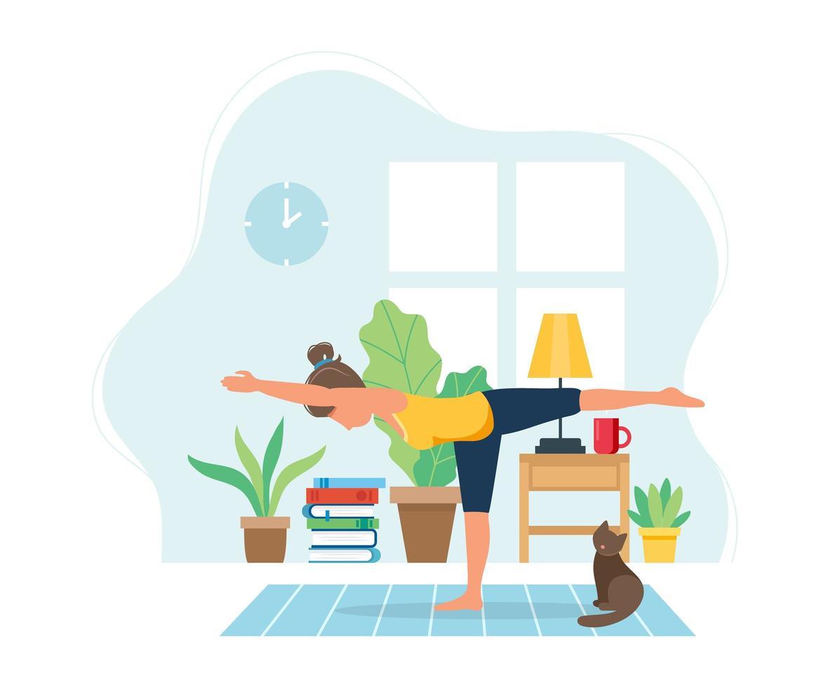 mulher fazendo ioga em um interior moderno e aconchegante vetor