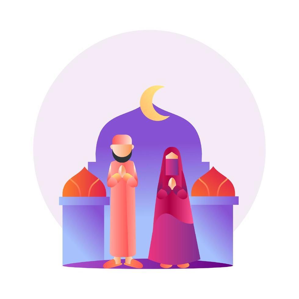casal muçulmano gradiente colorido vetor