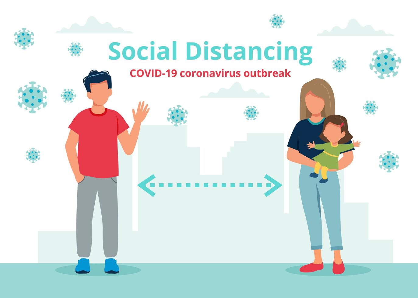 Social distancing concept with people at a distance vector