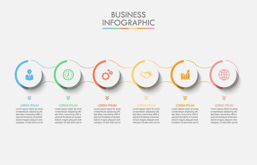 colorido círculo conectado infografía de 6 pasos vector