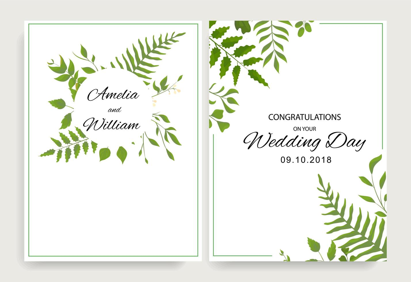 tarjetas de boda con hojas verdes y marco vector