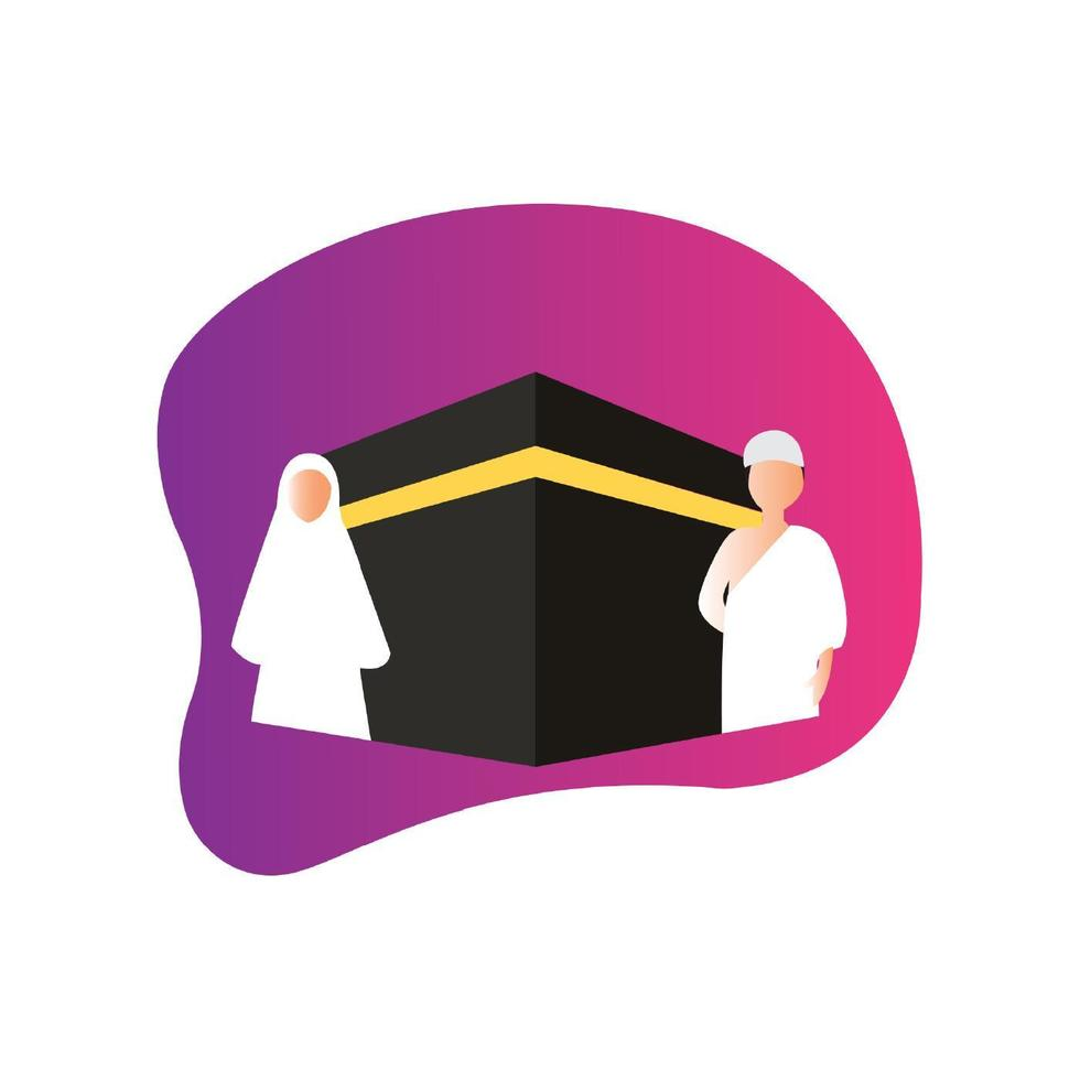 diseño hajj musulmán vector