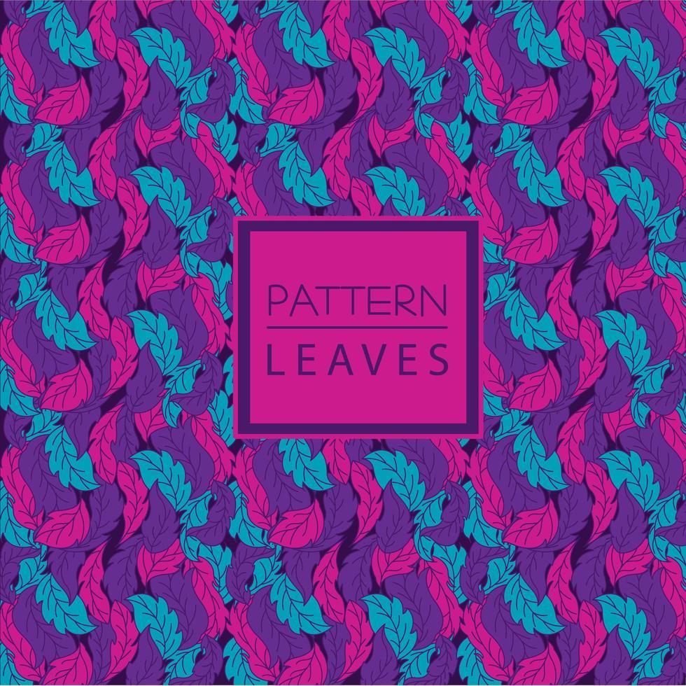 padrão de folha ciano, rosa e roxo vetor