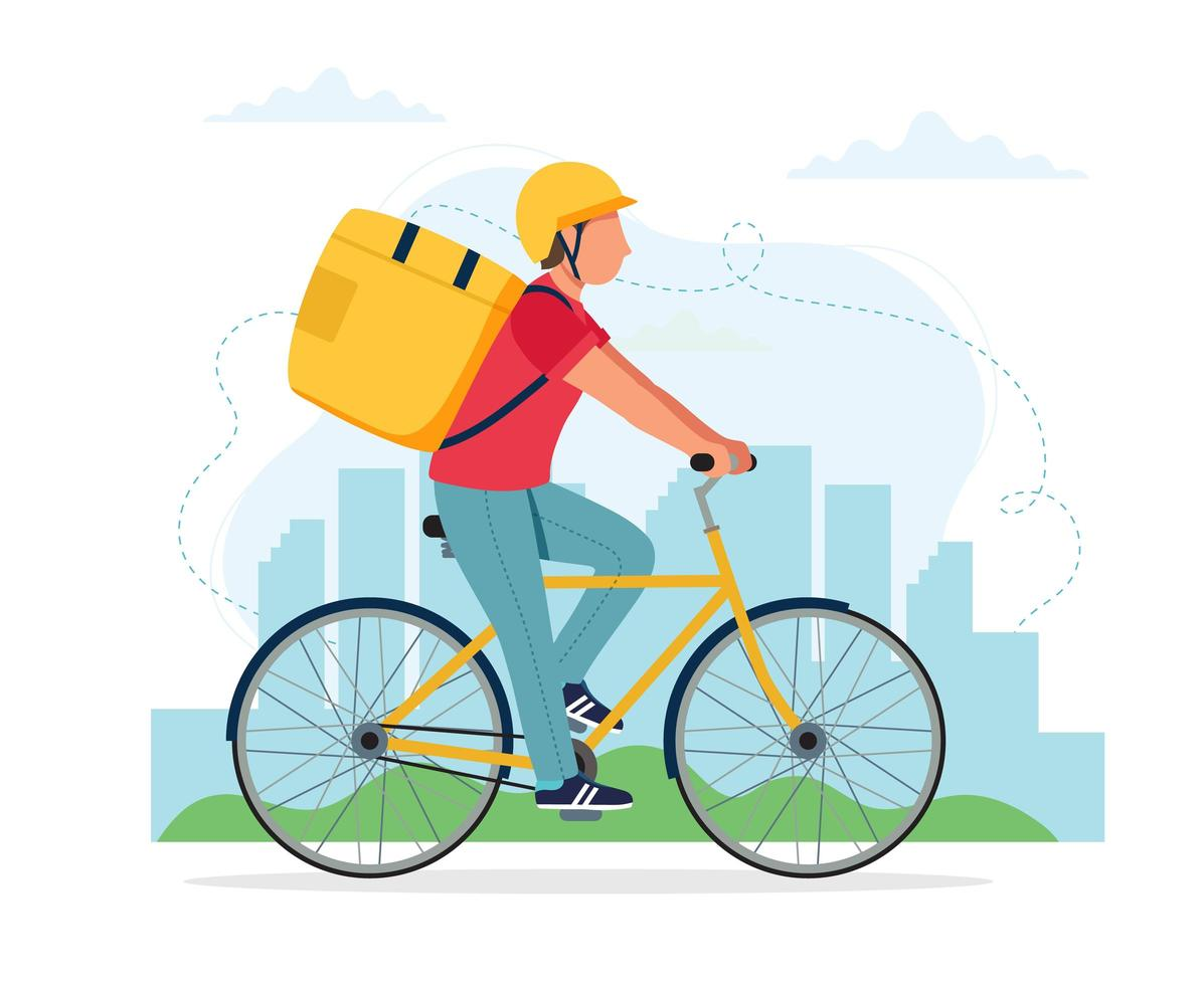 personaje de mensajero masculino montando bicicleta con caja de entrega vector