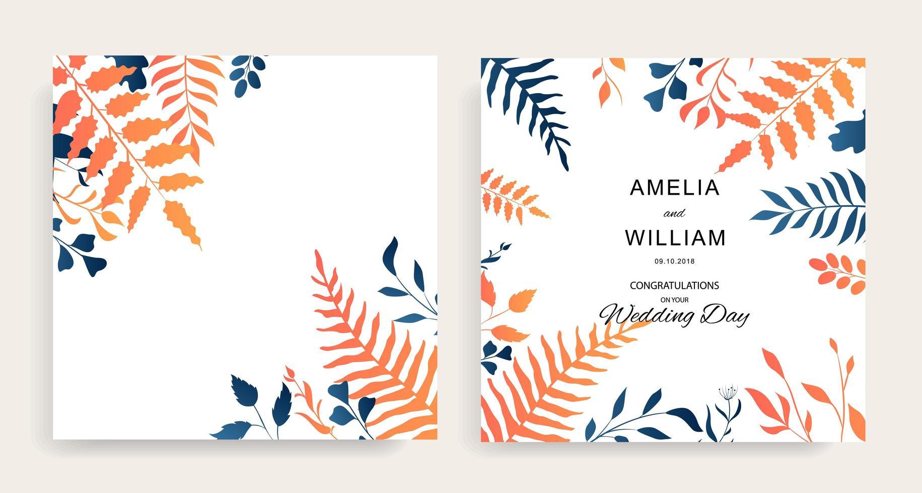 convite floral para casamento com folhas azuis e laranja vetor