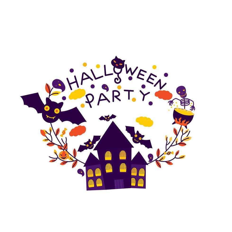 cartão de festa de halloween com casa mal-assombrada vetor