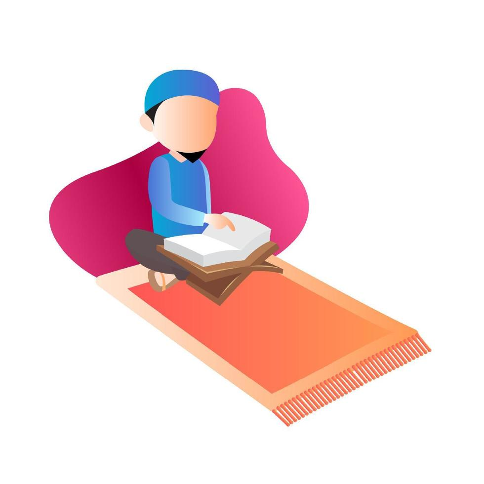 muçulmano lendo livro do Alcorão vetor