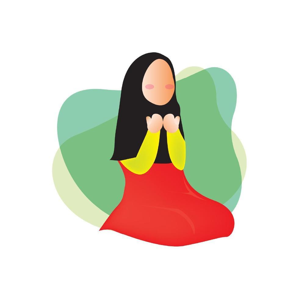 Muslim woman praying to god vector