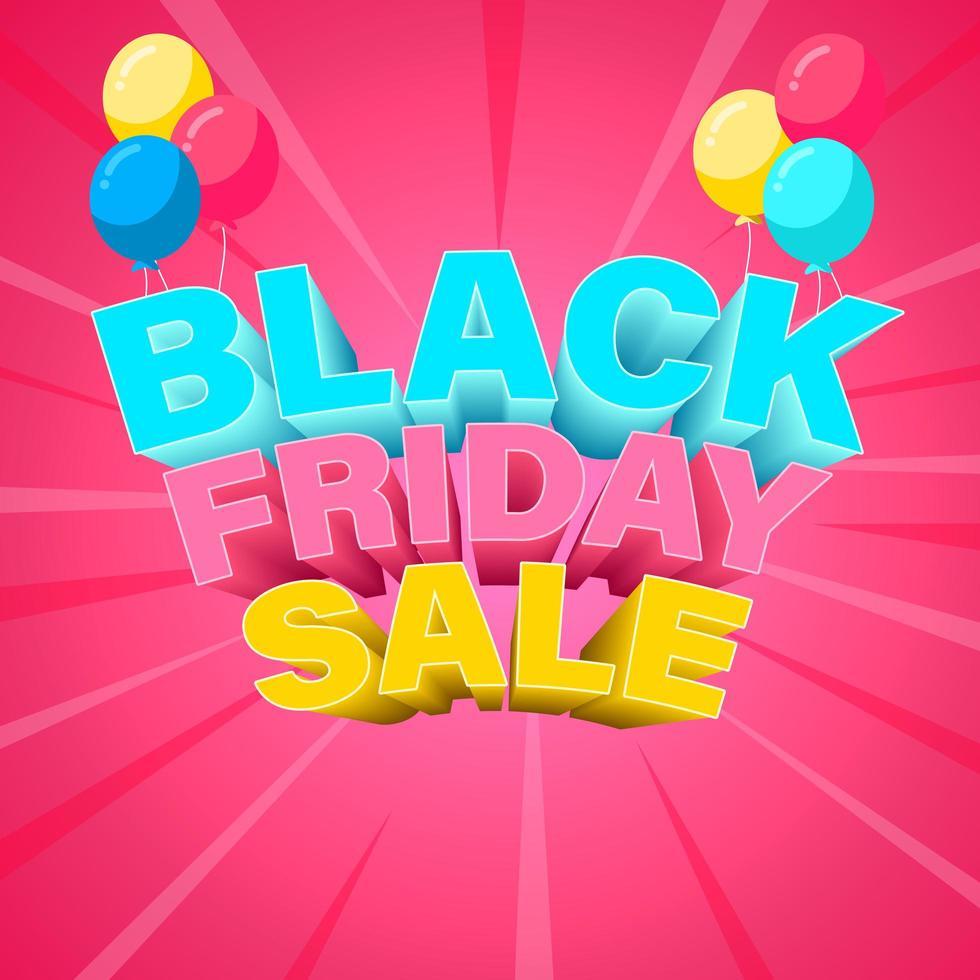 colorido banner de viernes negro con globos vector