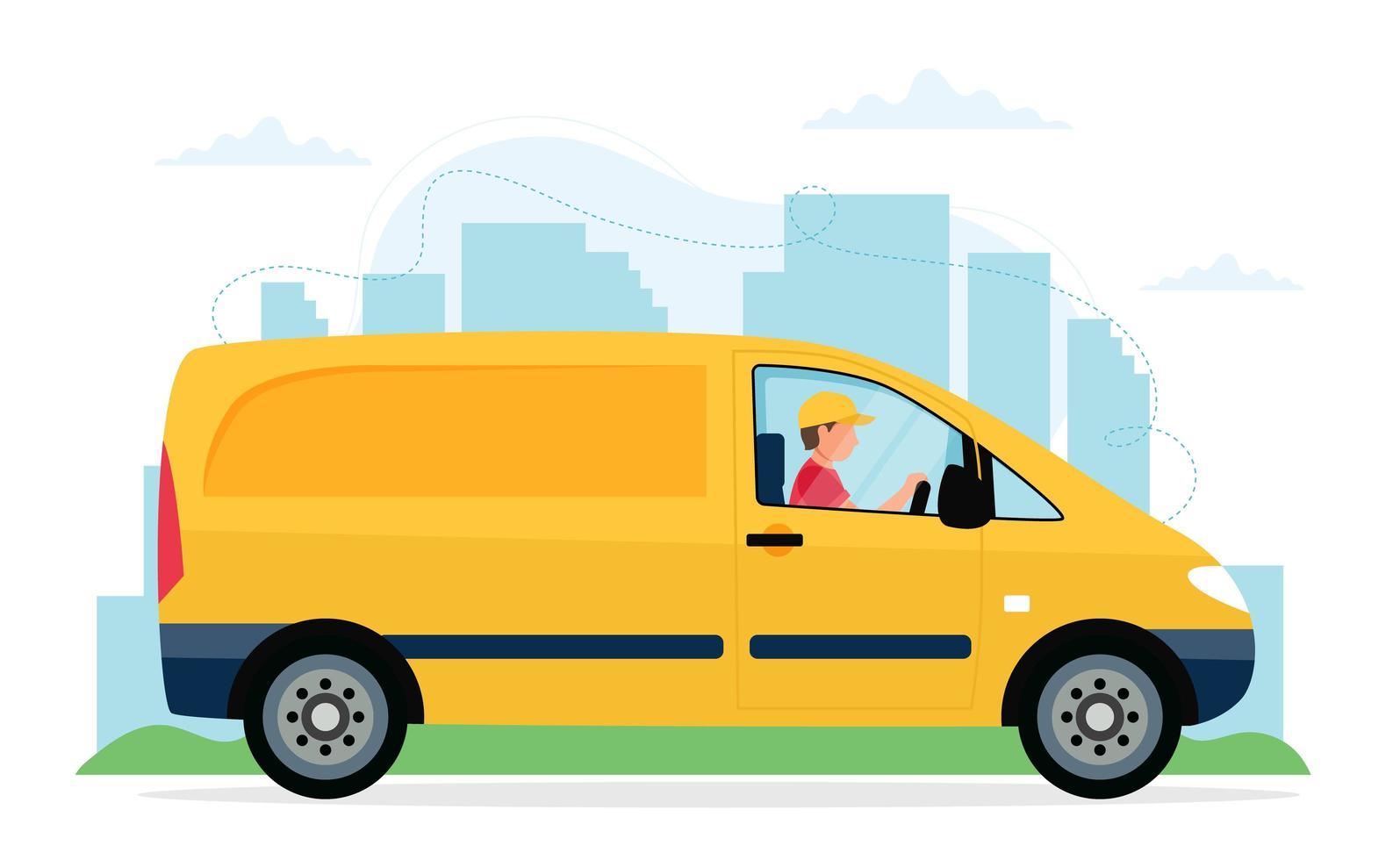 personaje de mensajero masculino conduciendo un vehículo de entrega amarillo vector