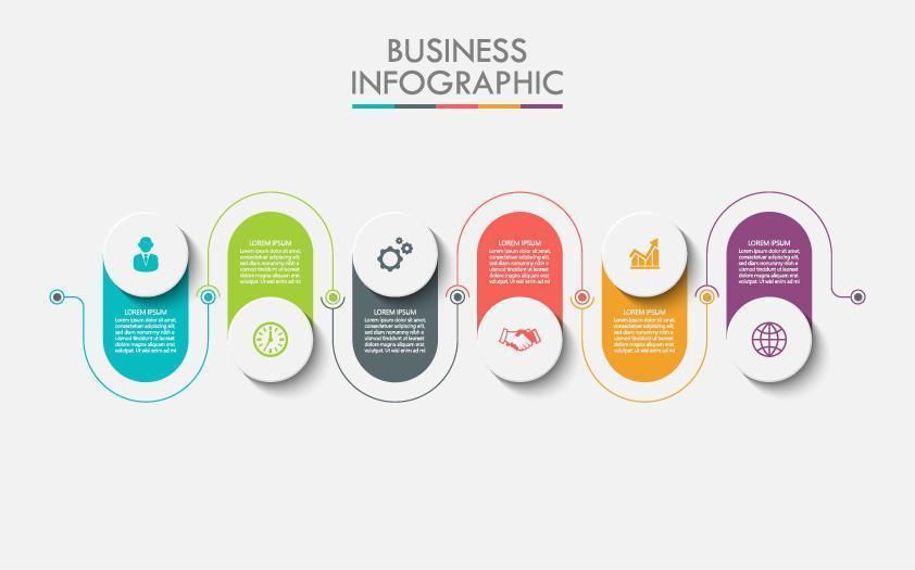 Infografía colorida conectada de 6 pasos vector