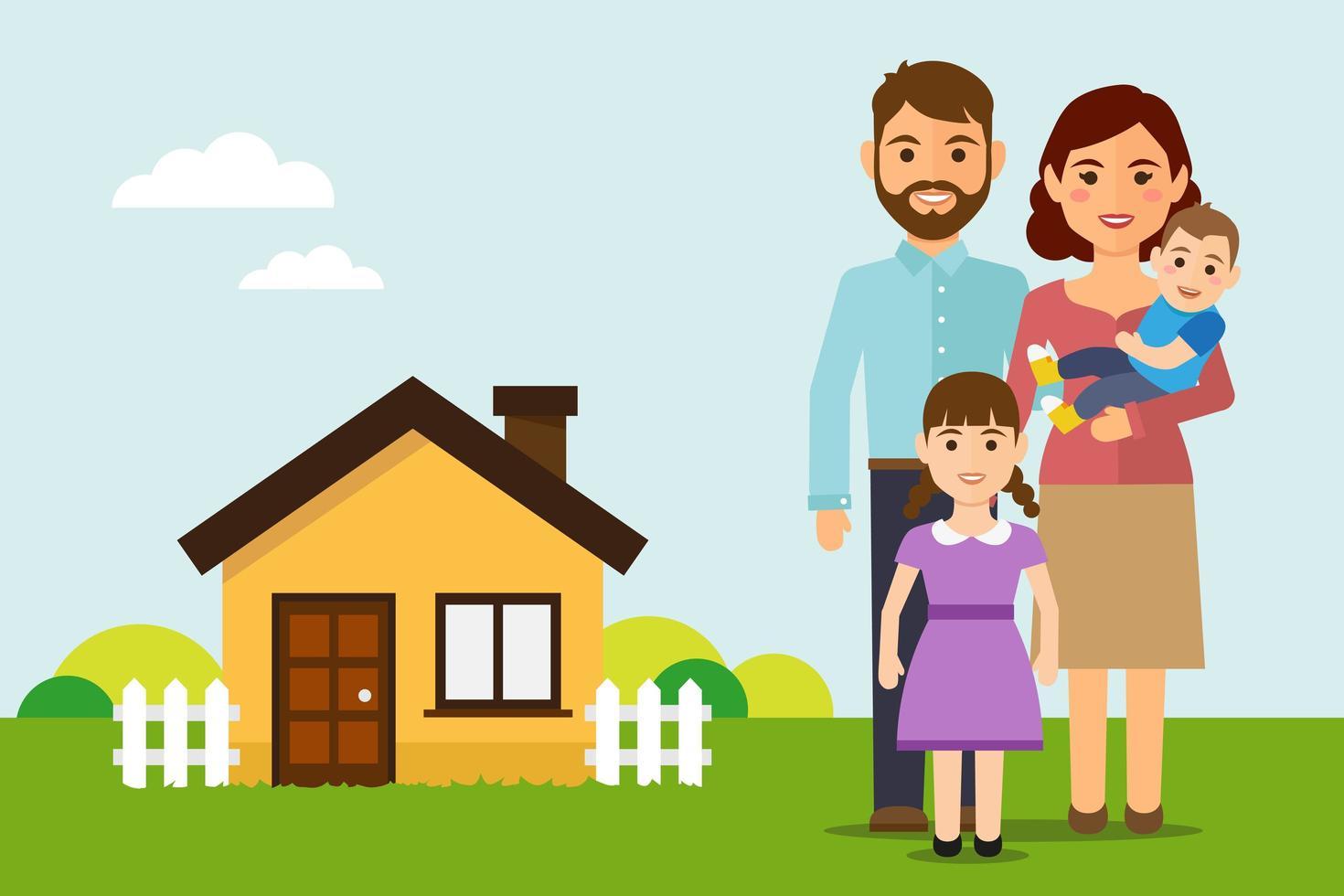 Happy family outside home vector