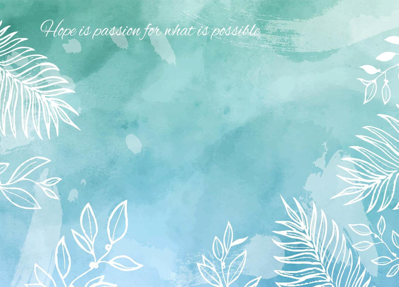 Blue and Green Watercolor Texture with Foliage vector