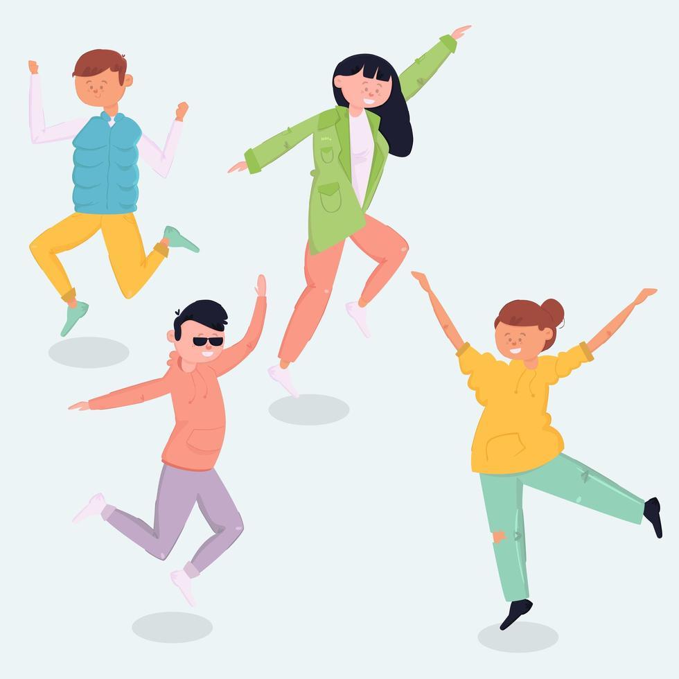 diseño del día de la juventud con gente saltando vector