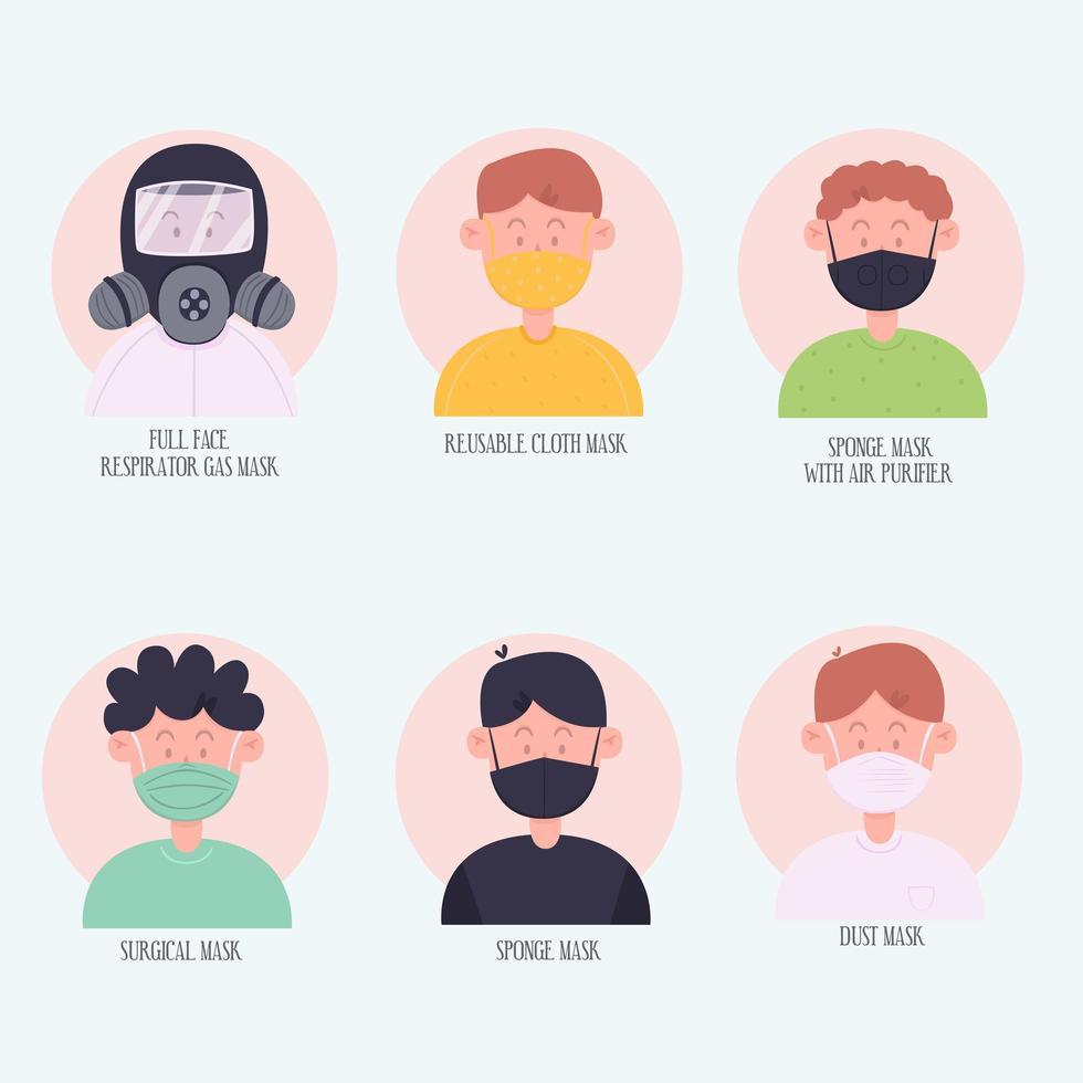 personajes con diferentes tipos de máscaras faciales. vector