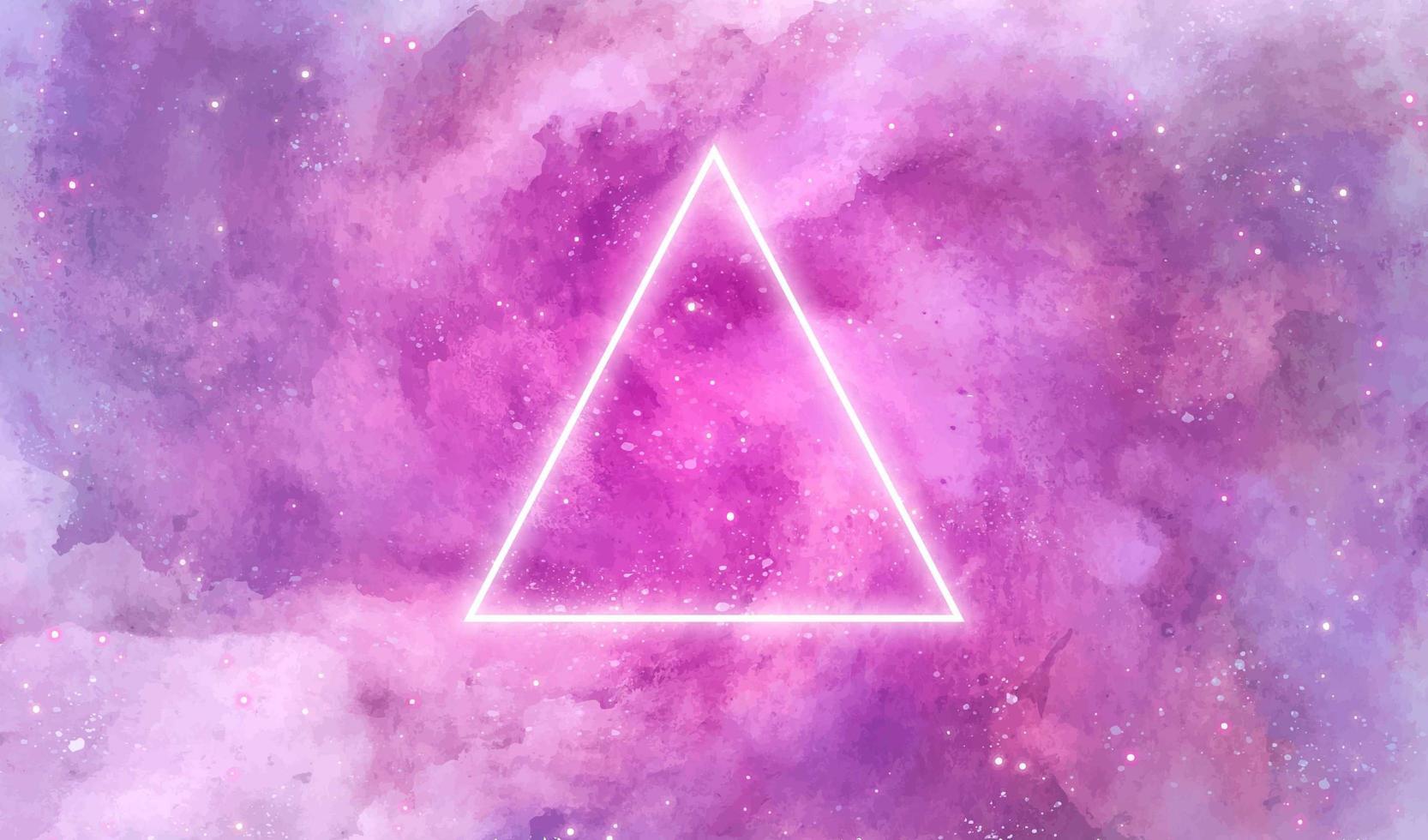 textura aquarela galáxia com triângulo de néon vetor