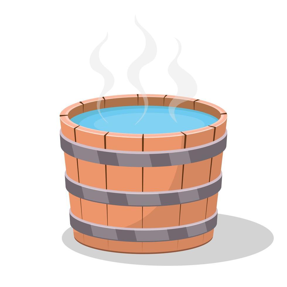 bañera de hidromasaje de madera en estilo de dibujos animados vector