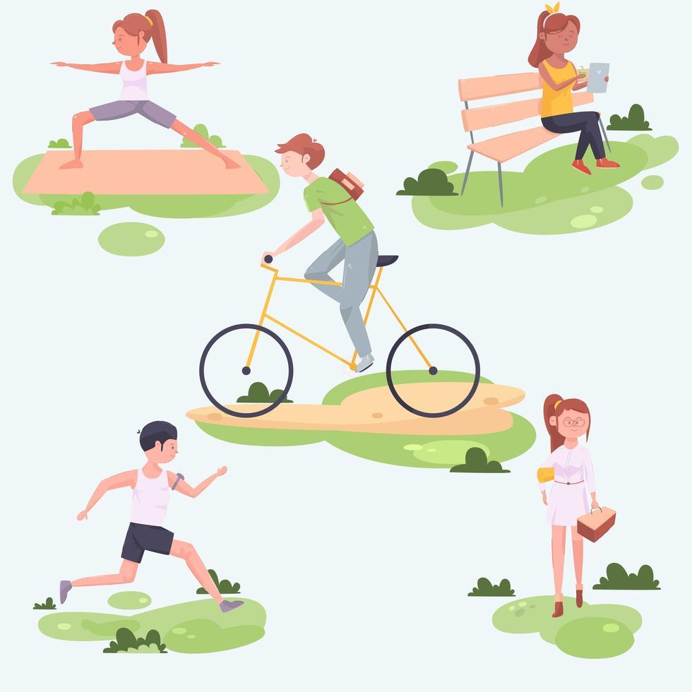 colección de personas haciendo actividades al aire libre. vector