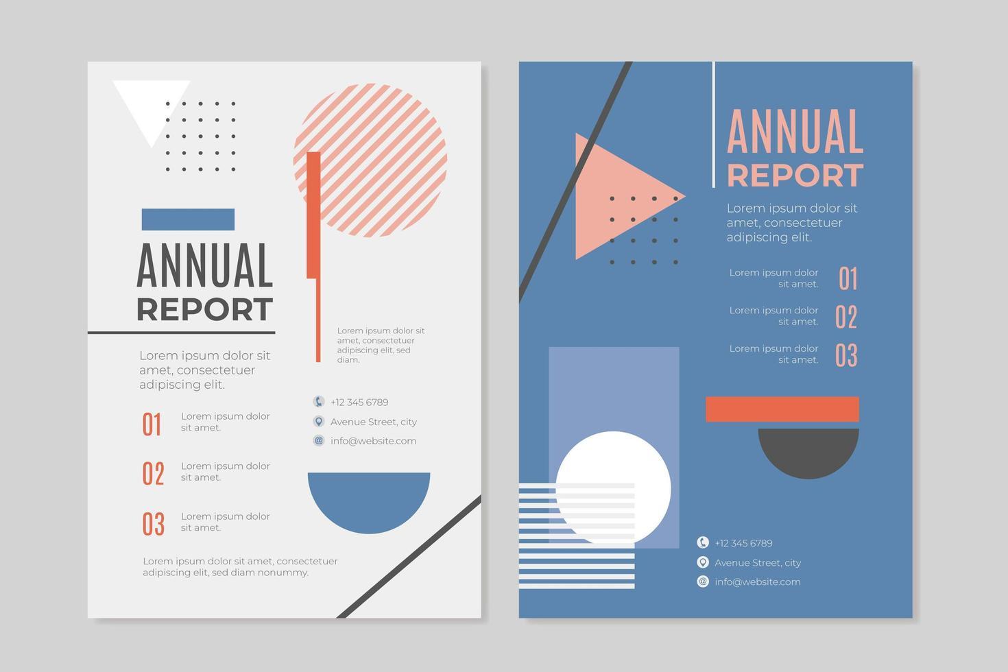 Informe anual de negocios ambientado en estilo memphis. vector