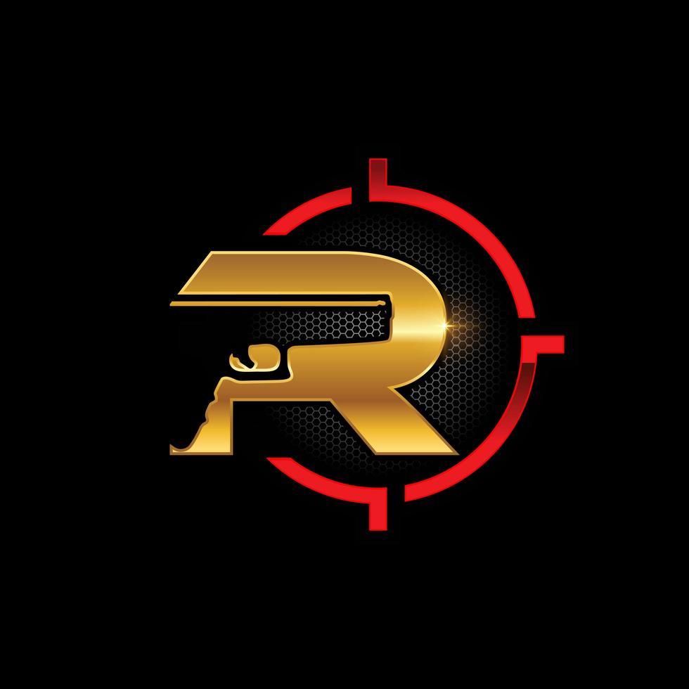 pistola y letra dorada r en el emblema de destino vector
