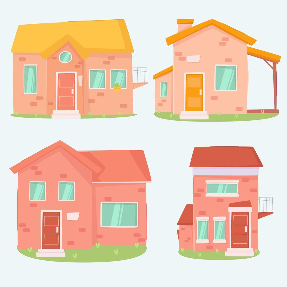 colección de casas de dibujos animados vector